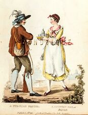 """Hand-Colored Engraving - from """"La Belle Assemble"""" - """"A TYROLIAN HUNTER"""" - c1810"""