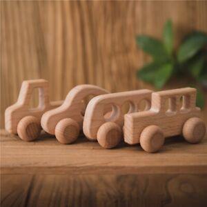 4Pcs Wooden Toys Montessori Educational Beech Wood Car Children Cartoon Car Toy