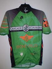 Mens Cycling Jersey Short Sleeve (M) Medium GREEN BLACK 3/4 Zip Up CASCADE