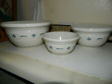 Roseville Longaberger Blue woven Traditions 3 piece nesting bowls ceramic mixing