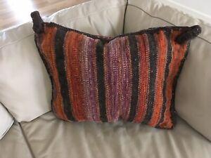 Vintage Hand Woven Wool Kilm Pillow/Textile Art/ Bohemian Home Decor/Fiber Art