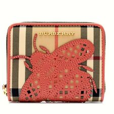 $495.0 NEW BURBERRY HORSEFERRY CHECK APPLIQUÉ INSECT SMALL ELMORE WALLET M/ITALY