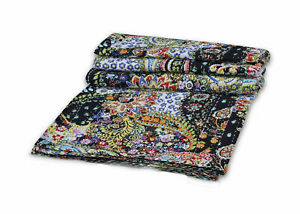 Traditional Paisley Print Indian Cotton Handmade Bed Cover Kantha Quilt Coverlet