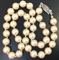 VINTAGE HAND KNOTTED FAUX PEARL BEAD NECKLACE G. SILVER FILIGREE CLASP JEWELRY