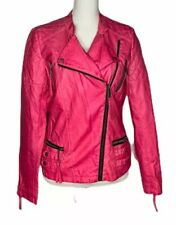 Womens Miss Sixty M60 Hot Pink Faux Leather Distressed Motorcycle Jacket Size M