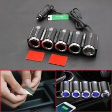 UK 4 Way DC12/24V Multi Socket Car Cigarette Lighter Splitter USB Charger Adapt