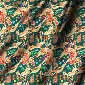 """Multi-Floral & Leafs Leaves Printed Cotton Fabric Dress Making By Yard 44"""" Wide"""