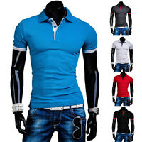 New Fashion Men's Stylish Slim Fit Short Sleeve Polo Shirts T-shirt Casual Tee