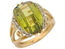 10k or 14k Gold Simulated Peridot and White CZ Ladies August Birthstone Ring