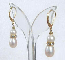 Real White Freshwater Pearl 18KGP Crystal Leverback Hook Women Lady Earrings