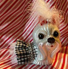 "Lhasa Apso Dog Glass Christmas Tree Ornament Bling & Boa Adorable! 4"""