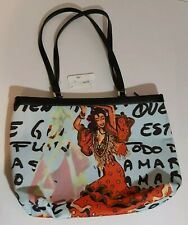 Isabella Fiore Gypsy Scoop Top Blue Tote Rhinestoned On One Side