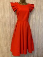 Ted Baker Arieal Textured Frill Pleat Shoulder Ascot Party Midi Dress UK 8 36