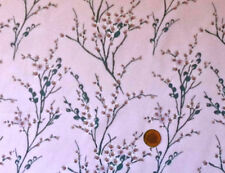 PINK WITH BRANCHES OF PUSSY WILLOW BLOSSOMS- 100% COTTON FABRIC F.Q.