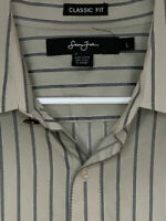 Sean John Mens Designer Shirt French Cuff Gray Striped Large
