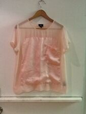 Women's MOSSIMO Peach Sheer Blouse With Pocket Size Medium Shirt Top
