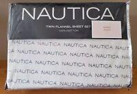Nautica 3 Pc TWIN FLANNEL Sheet Set 100% Cotton Off-White w/ Blue Print NWT