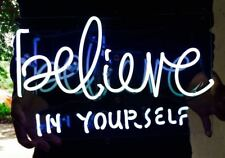 "BELIEVE IN YOURSELF Home Room Sofa Wall Lamp Beer Bar NEON Light Sign 12""x7"""