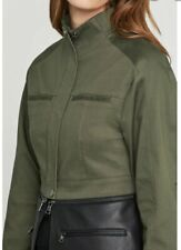 BCBG Max Azria Women Military Green Jacket ENW4174659 Small Cropped Faux Leather