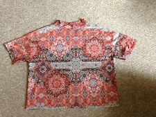 RIVER ISLAND ORANGE WHITE PATTERNED HIGH NECK FLORAL TOP SHIRT BLOUSE SIZE 8