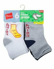 Boys' Ankle Socks 6-Pack Hanes Toddler cotton EZ Sort Non-skid bottom All Sizes