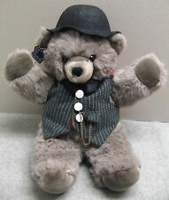 "1987 Applause Teddy Bear ""Macaroon"" Gray Grey Hat Vest Bowtie Tags 15"" EUC"
