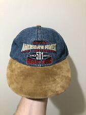 Vintage 90s Levi's 501 Jeans Denim Strap Back Hat Cap Rare Levi Strauss & Co