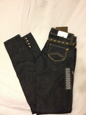 DENIM OF VIRTUE Dark Gold Studded Slim Peeptoe Denim Jeans sz 24 $215