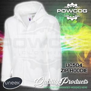 UNEEK Mens Plain Full Zip Up Hoodie  Heavyweight Hooded Sweatshirt Hoody UC504