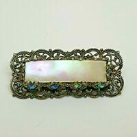 Vintage costume filigree brooch Mother of Pearl