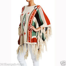 Women's Knitted Fringe Trim Sweater Poncho Cape Shawl Wrap (#PH15P01)