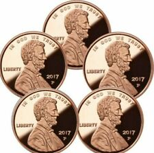 Lot of 5 - 1 oz Copper Rounds 2017 P Penny