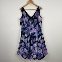 City Chic Womens Dress Plus Size XS Multicoloured Floral Sleeveless V-Neck