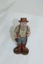 Sarahs Attic Resin Collectible Figurine Santa 1988 #A517 - Farmer Straw Hat