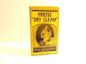 "Vintage Kristee ""Dry Clean"" cardboard box with several old packets inside"