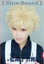 Bakugou Katsuki My Hero Academia Baku no Hero Short Blonde Fluffy Cosplay Wig