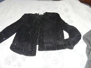 Black Laurence Kazar Beaded Sequin Jacket Blouse 100% Silk outer poly liner