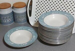 """Royal Doulton Reflection Rim Soup Dessert Bowl TC1008 9"""" 23cm Grey Silver White"""
