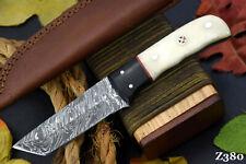 Custom Damascus Steel Tanto Hunting Knife Handmade   Camel Bone & Horn   Z380