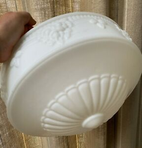 """VINTAGE LARGE WHITE OPAQUE PRESSED GLASS SHADE 14"""" WIDEST"""