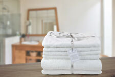 5* Luxury Hotel Spa Collection Turkish Cotton 6 Piece Towel Bale in Pure White