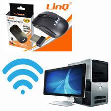 Mouse Linq Wireless Senza Fili 2.4 G Nero Pc Computer Chiavetta Wifi Pile Aa 443