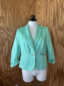 The Limited Women's Blazer Suit Jacket Solid Green Royal Button Size Small NWT