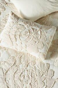 Anthropologie Embroidered Pallida applique Blush Cream Standard Pillow Sham NEW