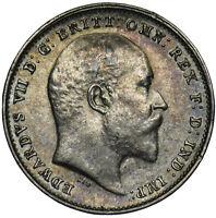 1908 THREEPENCE - EDWARD VII BRITISH SILVER COIN - V NICE