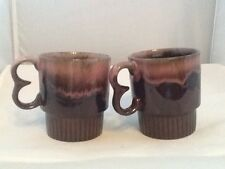 Vintage Dripware Coffee Cups Pink and Brown