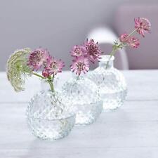 3 Clear Glass Round Bud Vases Mini Ball Vintage Wedding Decoration Gisela Graham