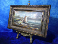 Dutch School SHIPS AT SEA DURING A STORM Oil Painting on Board Nautical Boat Art