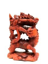 """Dragon 12"""" Holding The SunHand Carved Wood Bali Statue Sculpture Figurine"""