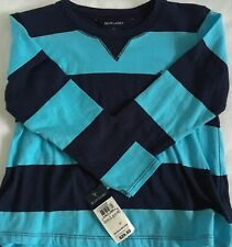 Polo Ralph Lauren Girl's Top~Aqua & Navy Blue~Long Sleeved~Size 5~NWT